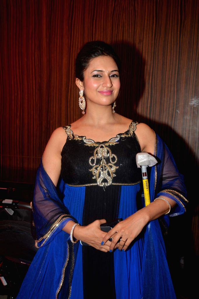 TV actress Divyanka Tripathi during Karan Patel and Ankita Bhargava`s engagement and sangeet ceremony at the Novotel Hotel in Juhu, Mumbai on 1st May, 2015. - Divyanka Tripathi