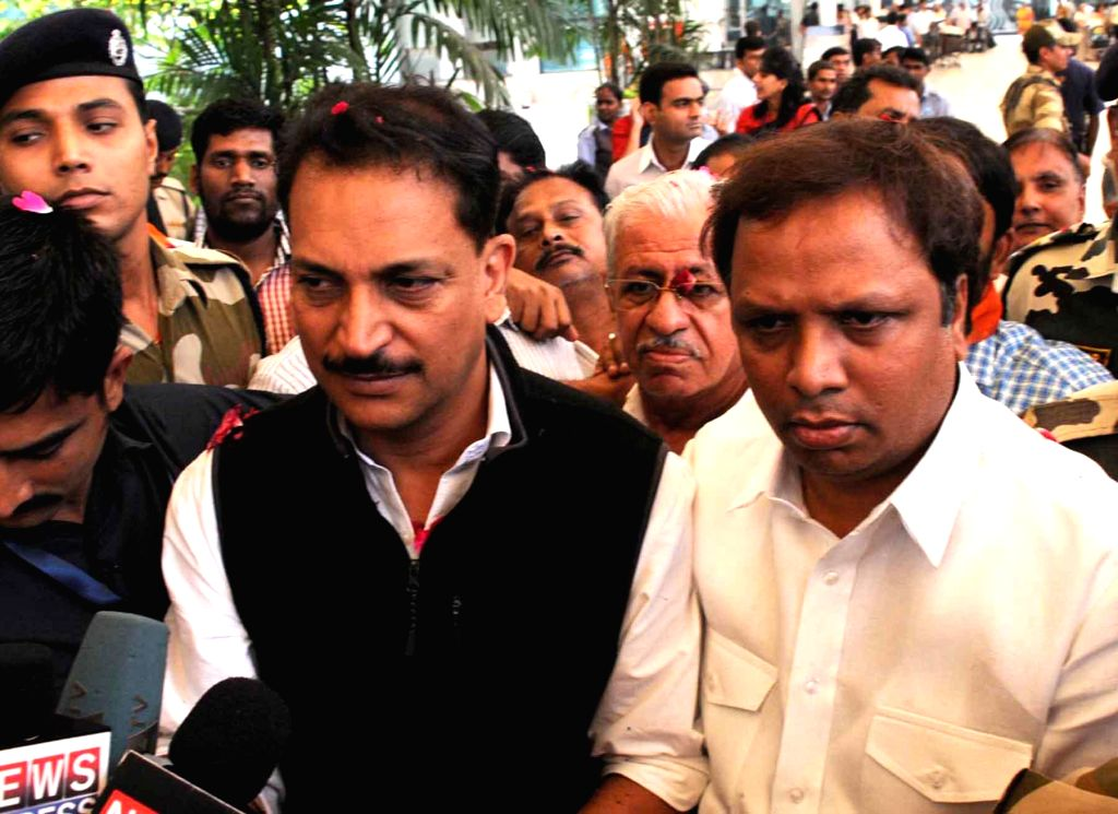 Union MoS for Skill Development and Entrepreneurship (Independent Charge), and Parliamentary Affairs Rajiv Pratap Rudy being welcomed by BJP workers at Chhatrapati Shivaji Airport in Mumbai ..