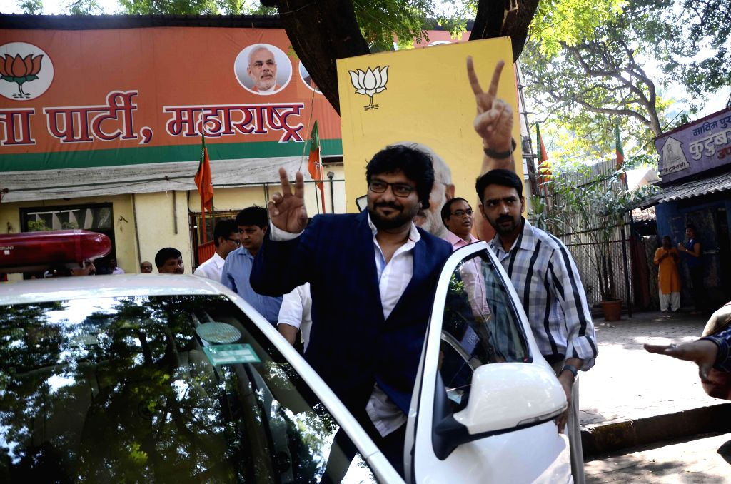 Union MoS for Urban Development, and Housing and Urban Poverty Alleviation Babul Supriyo leaves after visiting BJP head office in Mumbai, on Nov 21, 2014.