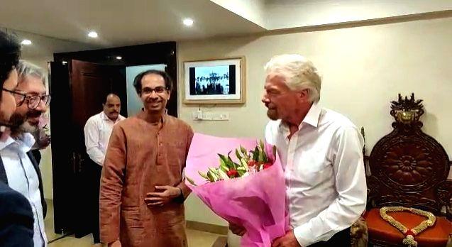 Mumbai: Virgin Group founder Richard Branson meets Maharashtra Chief Minister Uddhav Thackeray over the $10 billion Mumbai-Pune Hyperloop project, in Mumbai on Dec 12, 2019. (Photo: IANS) - Uddhav Thackeray