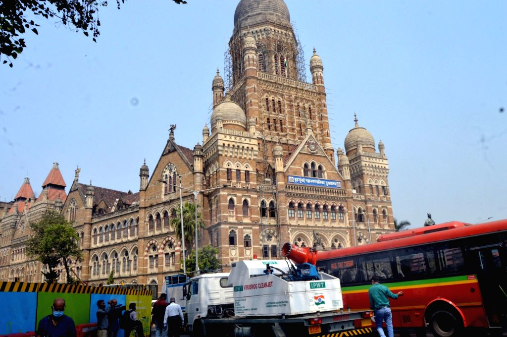 Mumbai: Virusmog cleanjet a sanitising cannon mounted on a dedicated truck made by IPWT company spraying water mixed with Sodium Hypochlorite in front of BMC Headquarters and CSMT Junction for Demo Purpose in Mumbai on Thursday 25th February, 2021. (