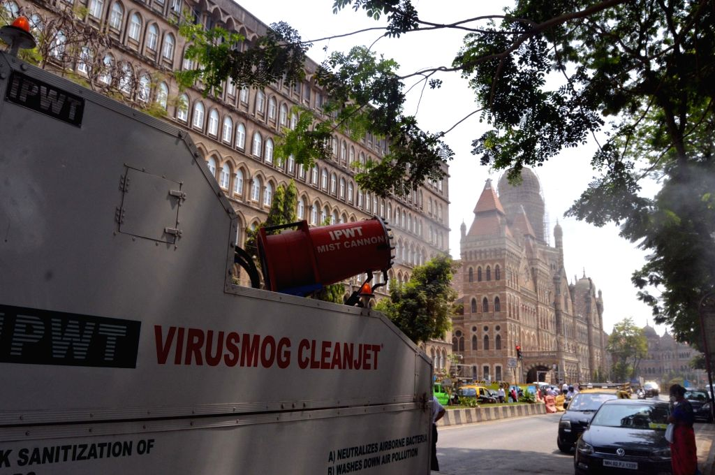Mumbai:- Virusmog cleanjet a sanitising cannon mounted on a dedicated truck made by IPWT company spraying water mixed with Sodium Hypochlorite in front of BMC Headquarters and CSMT Junction for Demo Purpose in Mumbai on Friday March 19, 2021. Photo b