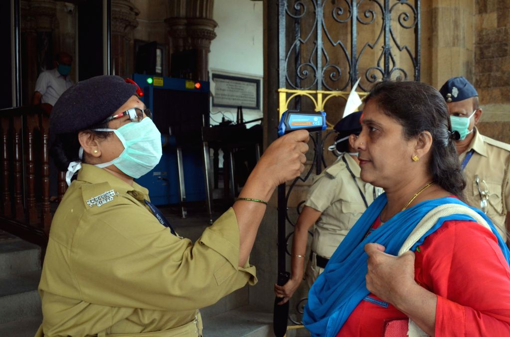 Mumbai: Visitors being screened for COVID-19 (coronavirus) at Brihanmumbai Municipal Corporation (BMC) Head Office in Mumbai on March 17, 2020. (Photo: IANS)