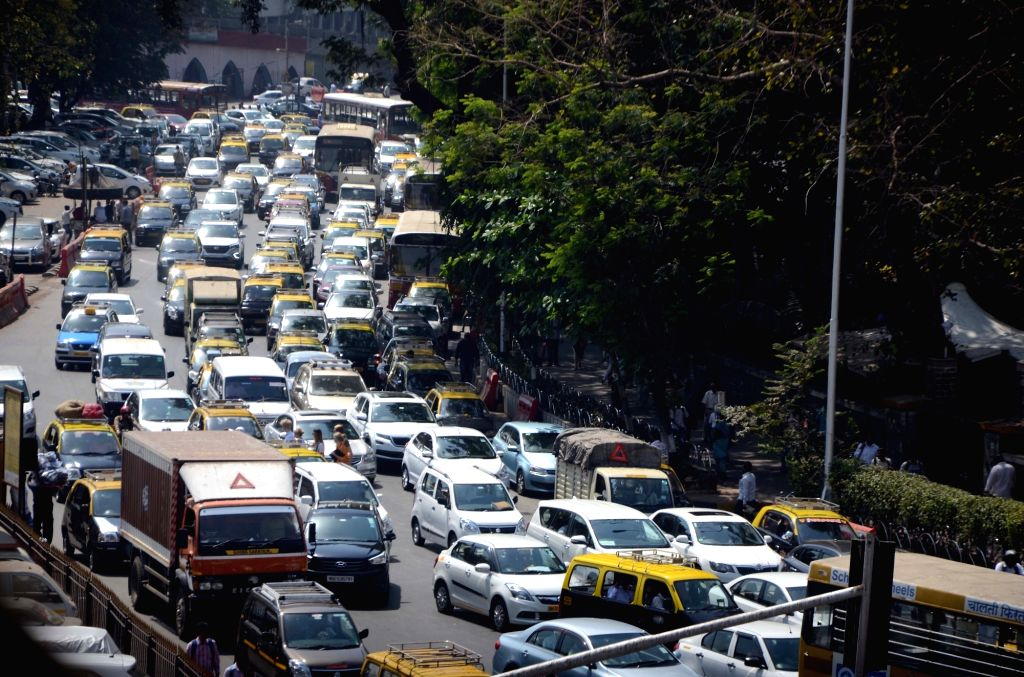 Mumbai witnesses massive traffic jam after D.N. Road was closed following the collapse of a portion of a pedestrian bridge near the Chhatrapati Shivaji Maharaj Terminus, in Mumbai on March ...