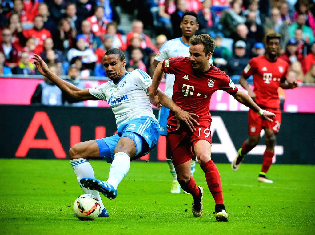 MUNICH, April 17, 2016 - Mario Goetze (R) of Bayern Munich vies for the ball during the German first division Bundesliga football match against Schalke 04 in Munich, Germany, on April 16, 2016. ...