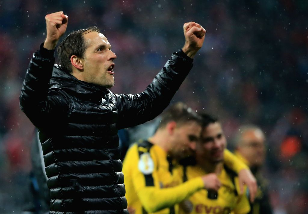 MUNICH, April 27, 2017 - Borussia Dortmund's coach Thomas Tuchel celebrates victory after a semifinal match of German Cup between Bayern Munich and Borussia Dortmund in Munich, Germany, on April 26, ...