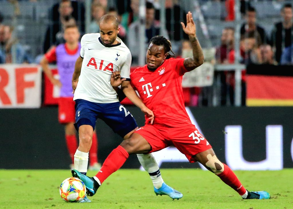 MUNICH, Aug. 1, 2019 - Lucas Moura (L) of Tottenham Hotspur vies with Renato Sanches of Bayern Munich during the final match of Audi Cup between Tottenham Hotspur of England and FC Bayern Munich of ...