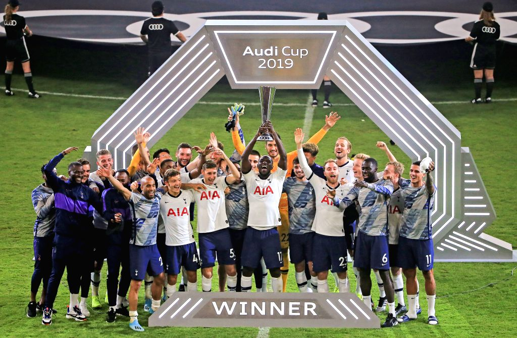 MUNICH, Aug. 1, 2019 - Players of Tottenham Hotspur celebrate victory during the award ceremony after the final match of Audi Cup between Tottenham Hotspur of England and FC Bayern Munich of Germany ...