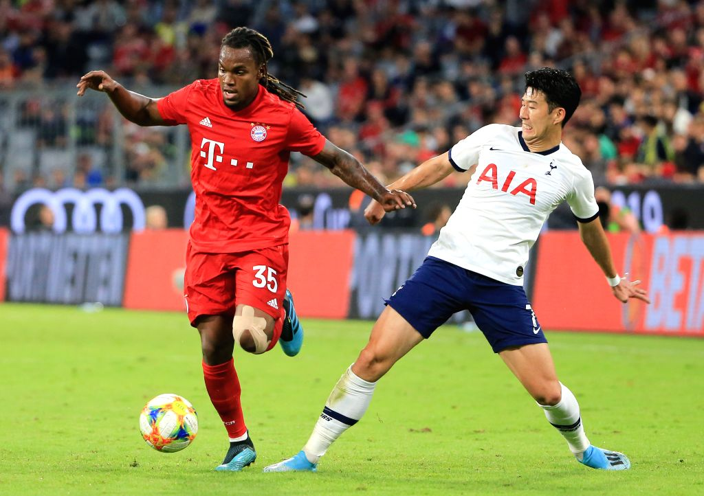 MUNICH, Aug. 1, 2019 - Renato Sanches (L) of Bayern Munich vies with Son Heung-min of Tottenham Hotspur during the final match of Audi Cup between Tottenham Hotspur of England and FC Bayern Munich of ...