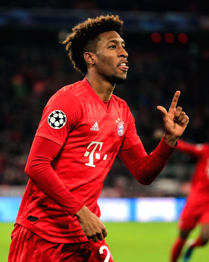 MUNICH, Dec. 12, 2019 - Kingsley Coman of Bayern Munich celebrates scoring during a UEFA Champions League Group B match between FC Bayern Munich of Germany and Tottenham Hotspur FC of England in ...