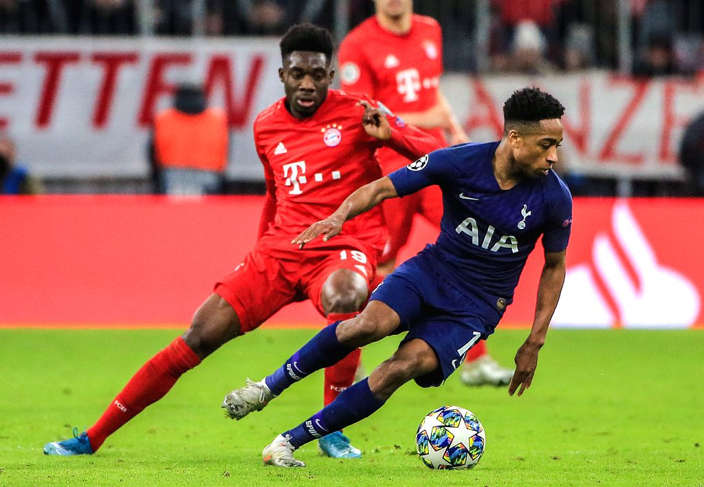 MUNICH, Dec. 12, 2019 - Kyle Walker-Peters (R) of Tottenham Hotspur vies with Alphonso Davies of Bayern Munich during a UEFA Champions League Group B match between FC Bayern Munich of Germany and ...