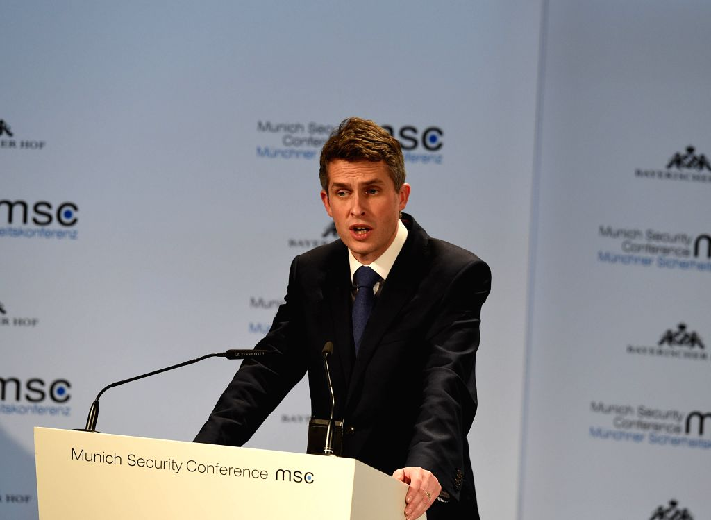 MUNICH, Feb. 15, 2019 - British Secretary of State for Defence Gavin Williamson addresses the 55th Munich Security Conference (MSC) in Munich, Germany, on Feb. 15, 2019. The 55th Munich Security ...