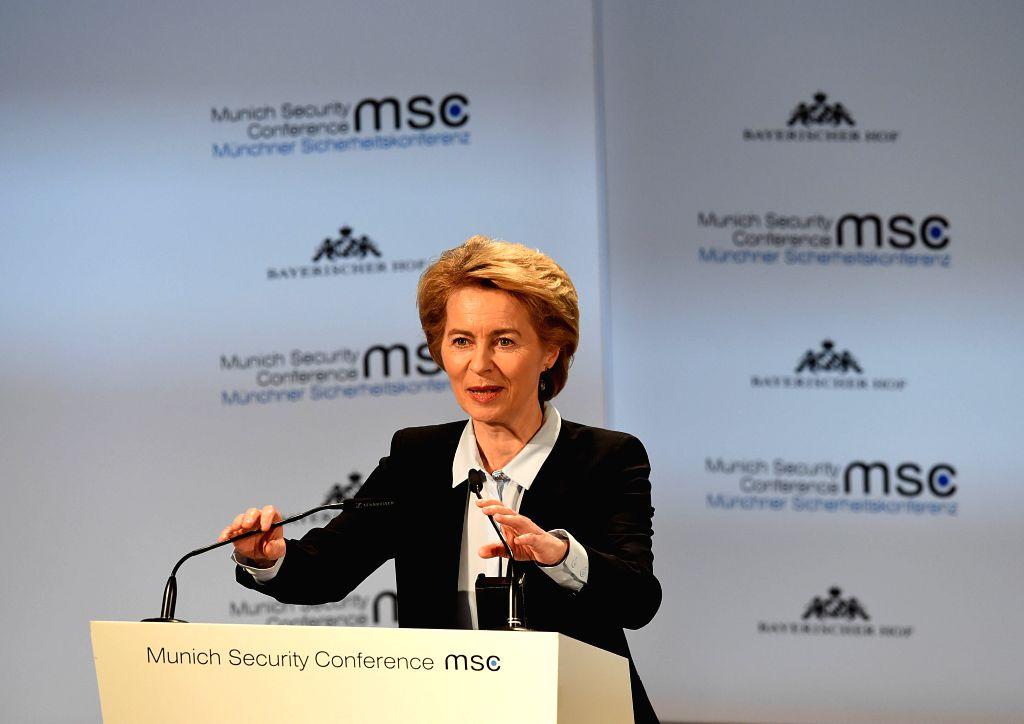 MUNICH, Feb. 15, 2019 (Xinhua) -- German Defense Minister Ursula von der Leyen addresses the 55th Munich Security Conference (MSC) in Munich, Germany, on Feb. 15, 2019. The 55th Munich Security Conference (MSC) kicked off here Friday, focusing on glo - Ursula