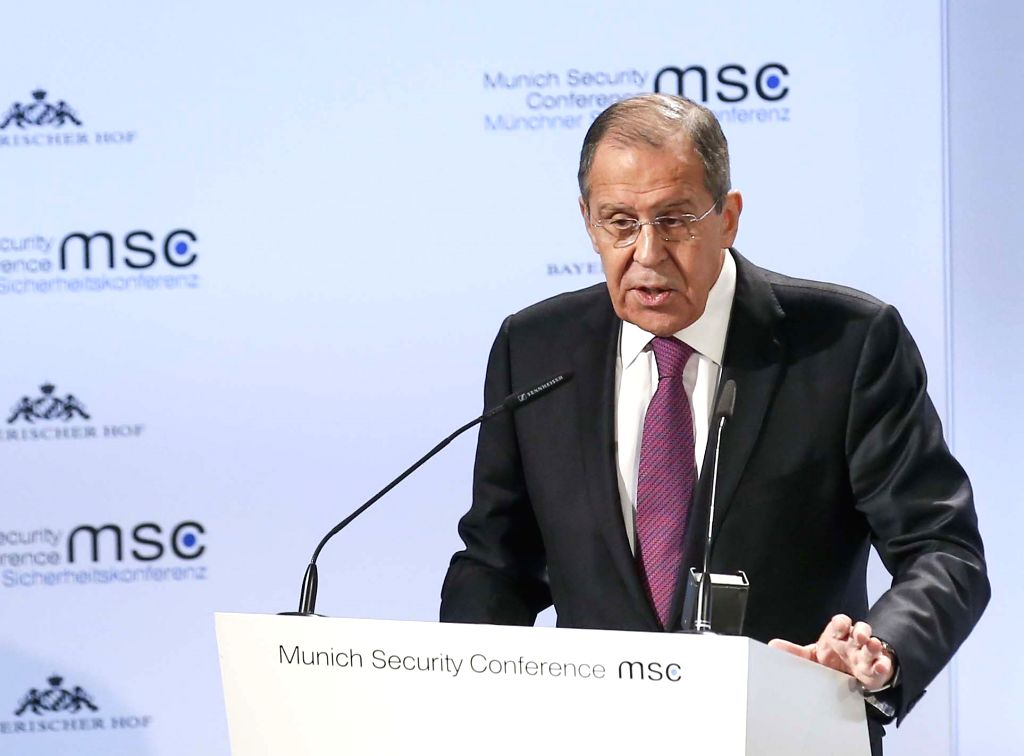 Munich:  Feb. 16, 2019 (Xinhua) --Russian Foreign Minister Sergei Lavrov delivers a speech at the 55th Munich Security Conference (MSC) in Munich, Germany, on Feb. 16, 2019.   (Xinhua/Ye Pingfan) - Sergei Lavrov