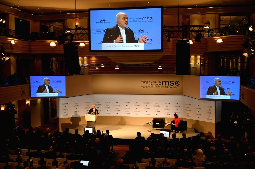 MUNICH, Feb. 17, 2019 - Iranian Foreign Minister Mohammad Javad Zarif addresses the 55th Munich Security Conference (MSC) in Munich, Germany, on Feb. 17, 2019. Zarif on Sunday urged European powers ... - Mohammad Javad Zarif