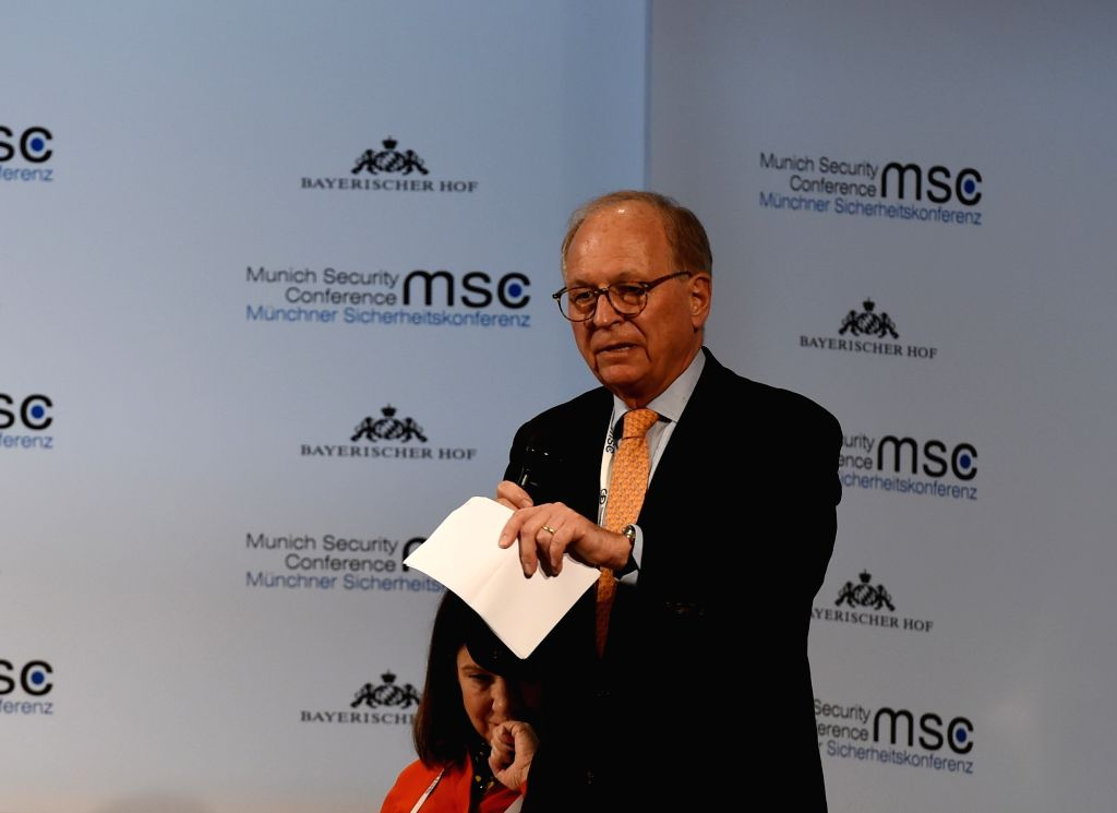 MUNICH, Feb. 17, 2019 - Munich Security Conference (MSC) Chairman Wolfgang Ischinger delivers a closing speech during the 55th MSC in Munich, Germany, on Feb. 17, 2019. The 55th MSC closed on Sunday ...