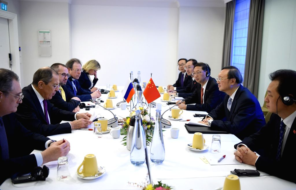 MUNICH, Feb. 17, 2019 - Yang Jiechi (2nd R), a member of the Political Bureau of the Communist Party of China (CPC) Central Committee and director of the Office of the Foreign Affairs Commission of ... - Sergei Lavrov