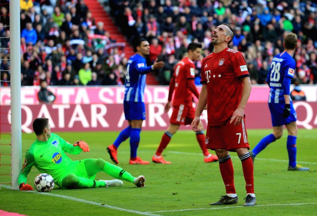 MUNICH, Feb. 24, 2019 - Bayern Munich's Franck Ribery (2nd R) reacts after missing a scoring chance during a German Bundesliga match between Bayern Munich and Hertha Berlin in Munich, Germany, Feb. ...