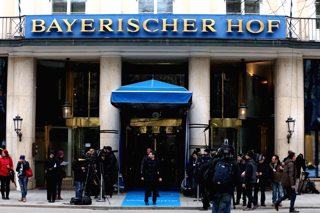 Media staff gather outside the meeting place of the 51st Munich Security Conference in Munich, Germany, on Feb. 6. 2015. The 51st Munich Security Conference (MSC) ...