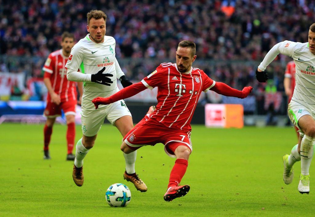 MUNICH, Jan. 22, 2018 - Bayern Munich's Franck Ribery (C) shoots during a German Bundesliga match between Bayern Munich and SV Werder Bremen, in Munich, Germany, on Jan. 21, 2018. Bayern Munich won ...