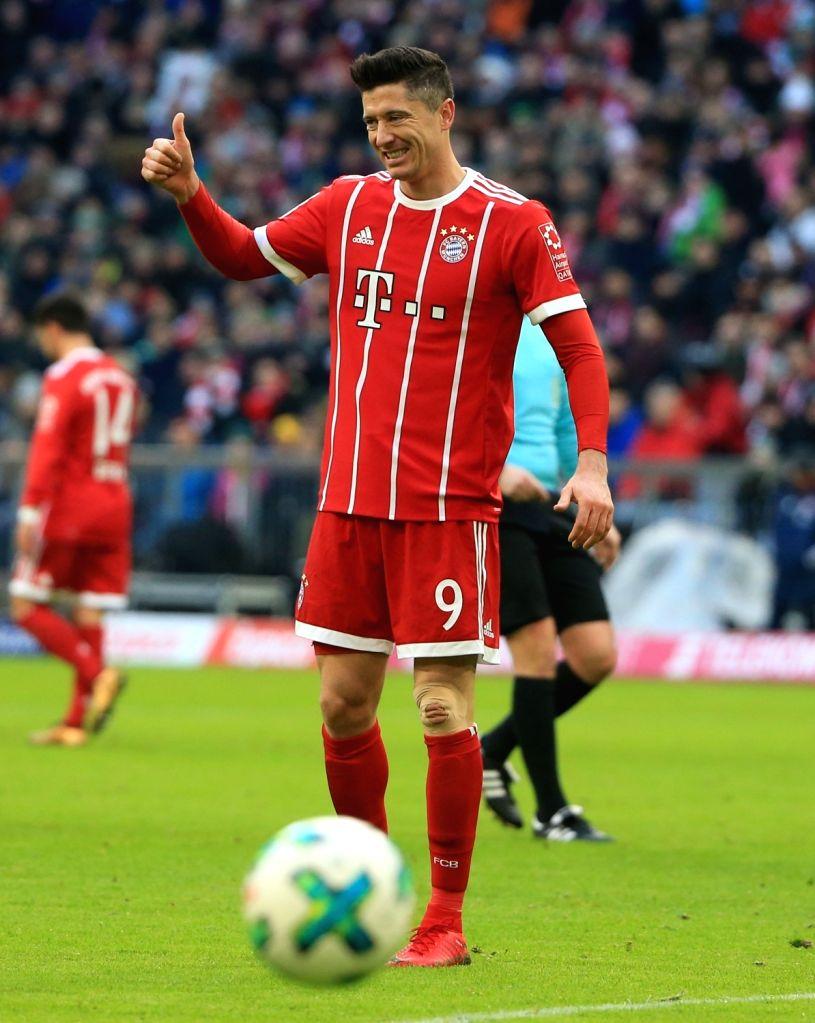 MUNICH, Jan. 22, 2018 - Bayern Munich's Robert Lewandowski reacts during a German Bundesliga match between Bayern Munich and SV Werder Bremen, in Munich, Germany, on Jan. 21, 2018. Bayern Munich won ...