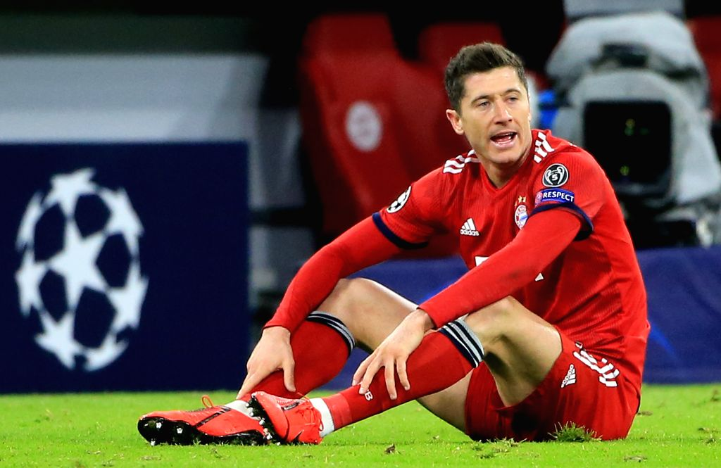 MUNICH, March 14, 2019 - Bayern Munich's Robert Lewandowski reacts during the UEFA Champions League 1/8 finals second leg match between Bayern Munich of Germany and Liverpool of England in Munich, ...