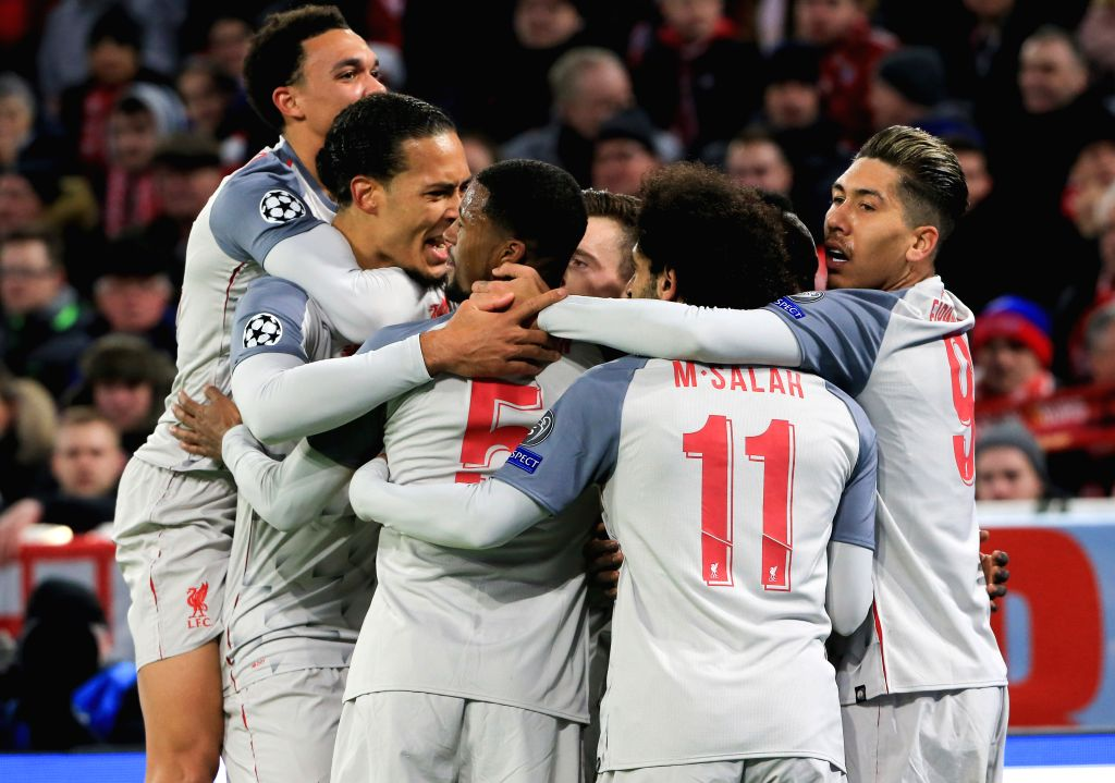 MUNICH, March 14, 2019 - Liverpool's players celebrate their goal during the UEFA Champions League 1/8 finals second leg match between Bayern Munich of Germany and Liverpool of England in Munich, ...