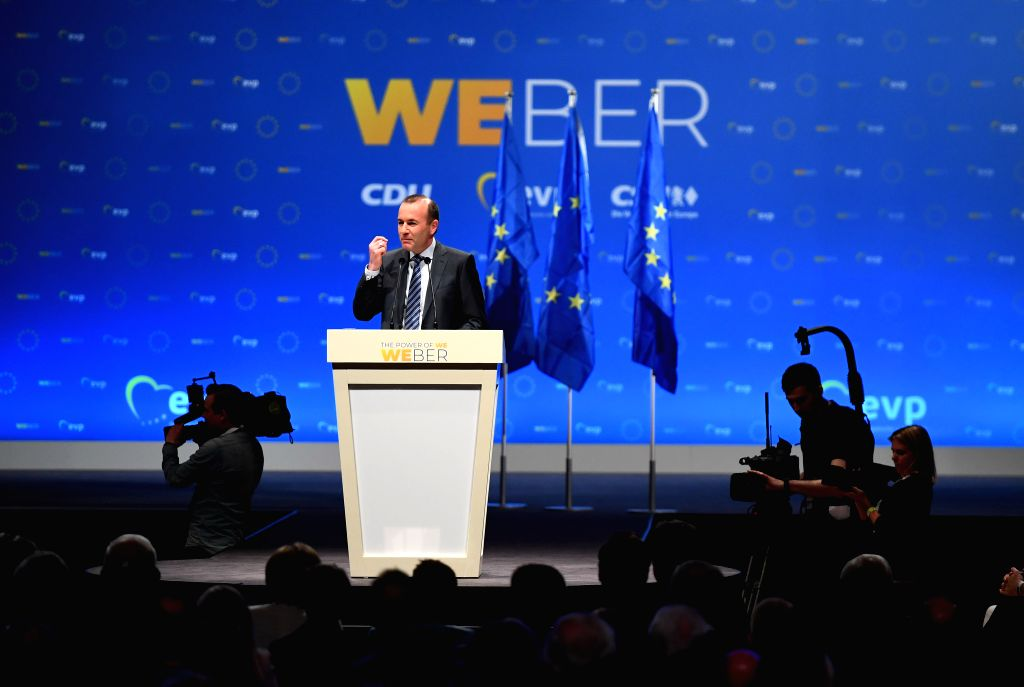MUNICH, May 24, 2019 - Manfred Weber, top candidate of the European People's Party (EPP) for the European elections, speaks during his last campaign rally ahead of the election in Munich, Germany, on ...