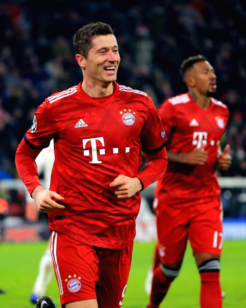 MUNICH, Nov. 28, 2018 - Bayern Munich's Robert Lewandowski celebrates his second goal during a 5th round match in group E of UEFA Champions League between Bayern Munich of Germany and SL Benfica of ...