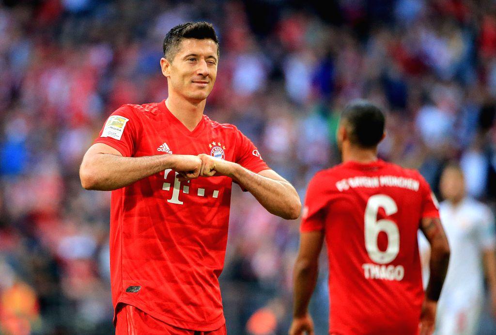 MUNICH, Oct. 27, 2019 - Robert Lewandowski of Bayern Munich celebrates his scoring, which is cancelled later by video assistant referee (VAR), during a German Bundesliga match between FC Bayern ...