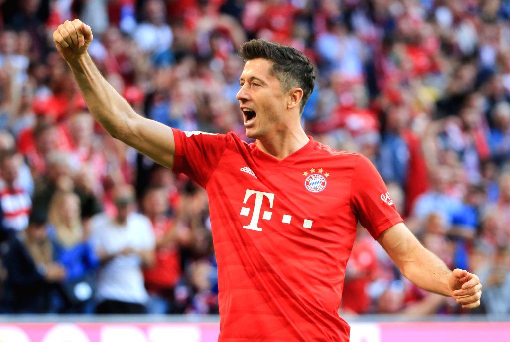MUNICH, Oct. 27, 2019 - Robert Lewandowski of Bayern Munich celebrates his scoring during a German Bundesliga match between FC Bayern Munich and 1.FC Union Berlin in Munich, Germany, on Oct. 26, 2019.