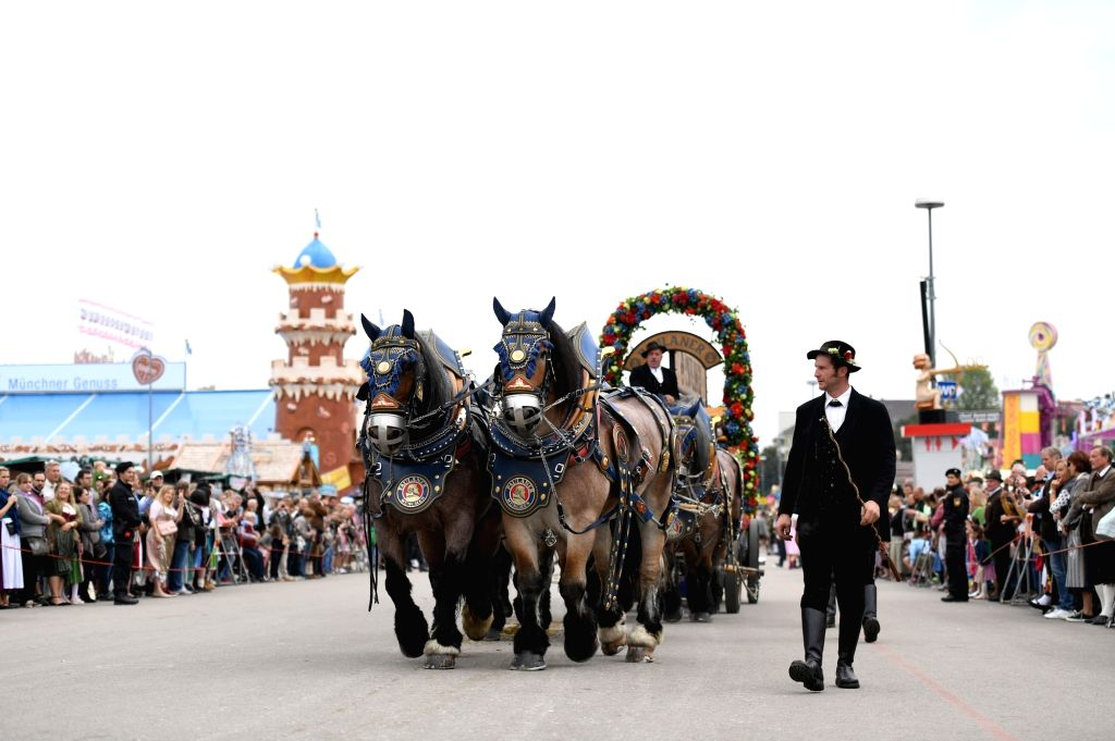 MUNICH, Sept. 22, 2019 - A carriage participates in the Oktoberfest parade in Munich, Germany, Sept. 22, 2019.  This year's Oktoberfest goes from Sept. 21 to Oct. 6.