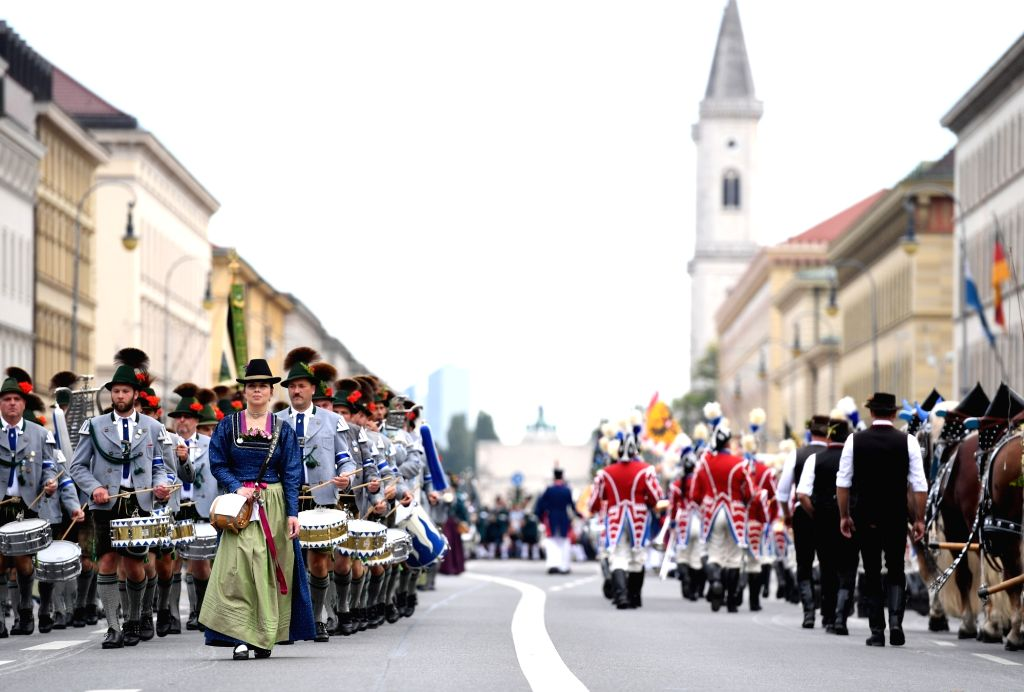 MUNICH, Sept. 22, 2019 - People participate in the Oktoberfest parade in Munich, Germany, Sept. 22, 2019.  This year's Oktoberfest goes from Sept. 21 to Oct. 6.