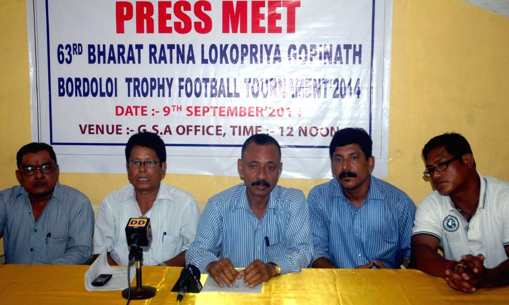 Munin Nobis, president of Guwahati Sports Association (GSA) addresses a press conference regarding the upcoming Bordoloi Trophy at GSA office in Nehru Stadium, Guwahati on Sept 9, 2014.