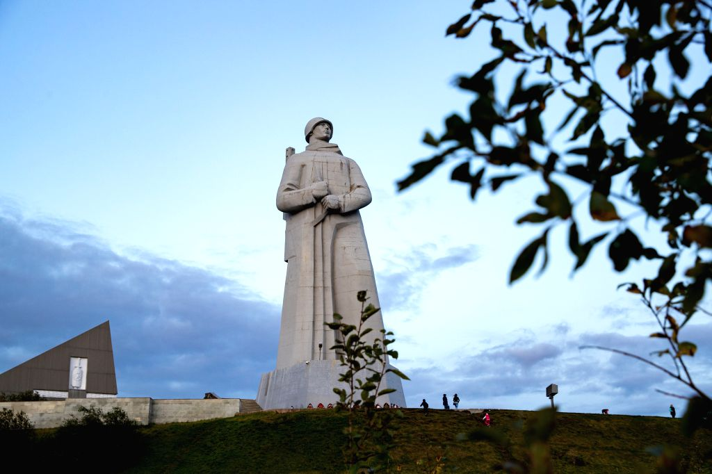 MURMANSK, Sept. 15, 2019 - Photo taken on Sept. 12, 2019 shows the Monument of the Defenders of the Soviet Arctic during the Great Patriotic War, also known as Alyosha, in the Arctic Circle port city ...