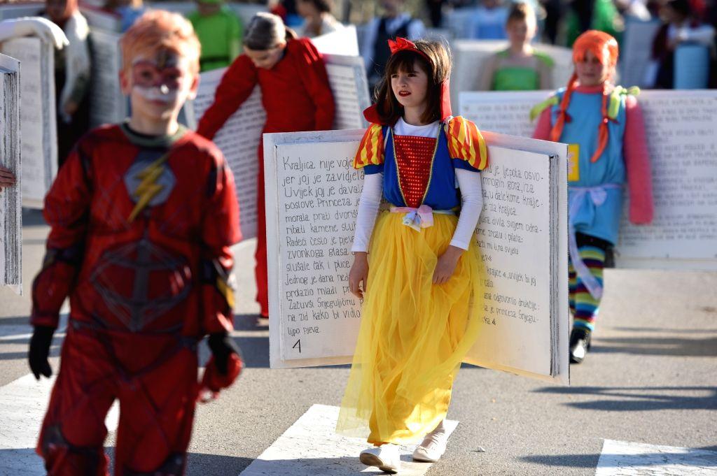 MURTER (CROATIA), March 3, 2019 Children in various costumes take part in the Murter Carnival parade in Murter, Croatia, on March 3, 2019.