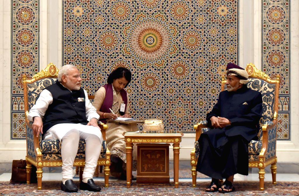 Muscat (Oman): Prime Minister Narendra Modi at the delegation level talks with the Sultan of Oman, Sultan Qaboos bin Said Al Said, at Bait Al Baraka, in Muscat, Oman on Feb 11, 2018. - Narendra Modi