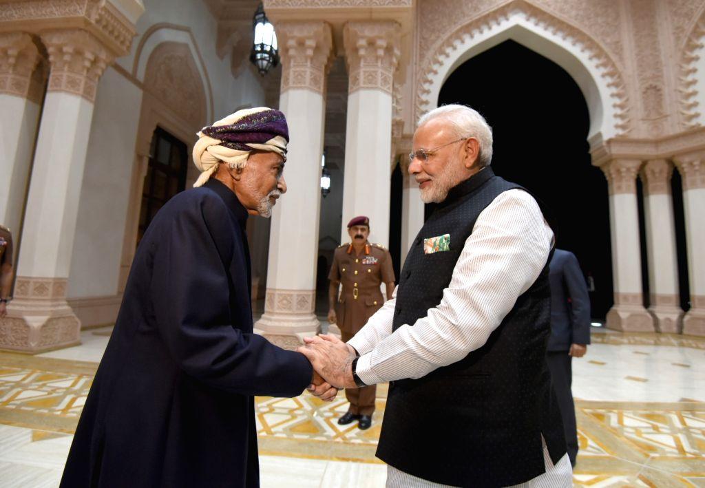 Muscat (Oman): Prime Minister Narendra Modi meets the Sultan of Oman, Sultan Qaboos bin Said Al Said, at Bait Al Baraka, in Muscat, Oman on Feb 11, 2018. - Narendra Modi