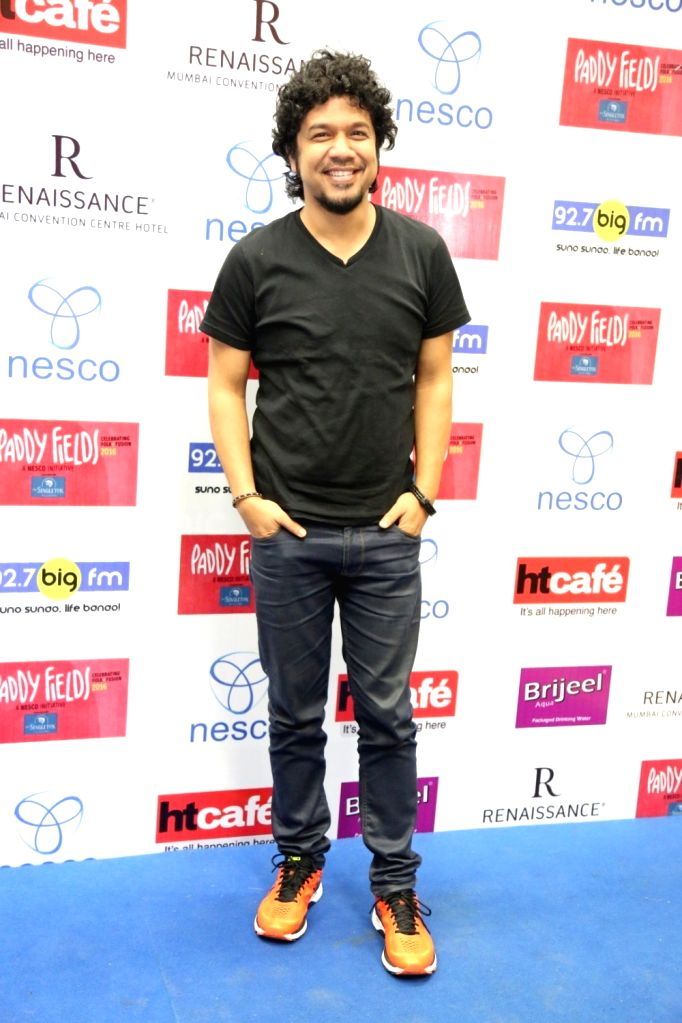 Music composer and singer Angaraag Mahanta (Papon)during the press conference of India's first ever Folk and Fusion music Festival - Paddy Fields, in Mumbai on Oct 12, 2016.