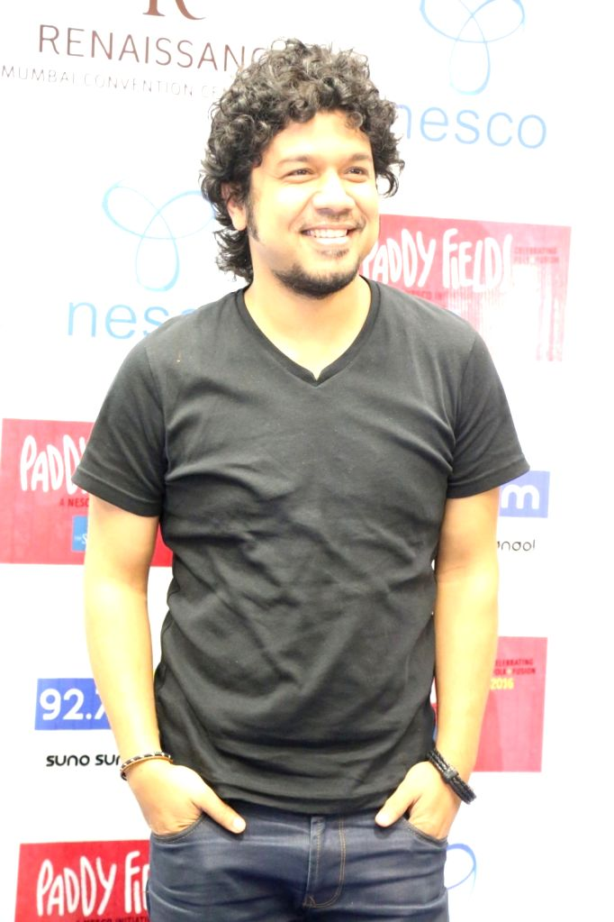 Music composer and singer Angaraag Mahantaduring the press conference of India's first ever Folk and Fusion music Festival - Paddy Fields, in Mumbai on Oct 12, 2016.
