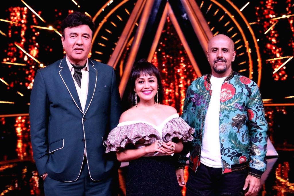 "Music composer Anu Malik, Singer Neha Kakkar and Singer-composer Vishal Dadlan on the sets of singing reality show  ""Indian Idol 10"" in Mumbai on July 24, 2018. - Malik"