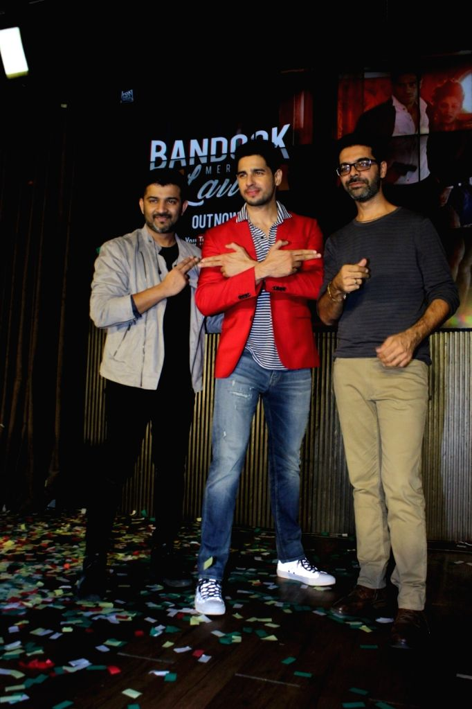 "Music composer duo Sachin -Jigar and Actor Sidharth Malhotra during the song launch of upcoming film ""A Gentleman"" in Mumbai on Aug 16, 2017. - Sidharth Malhotra"