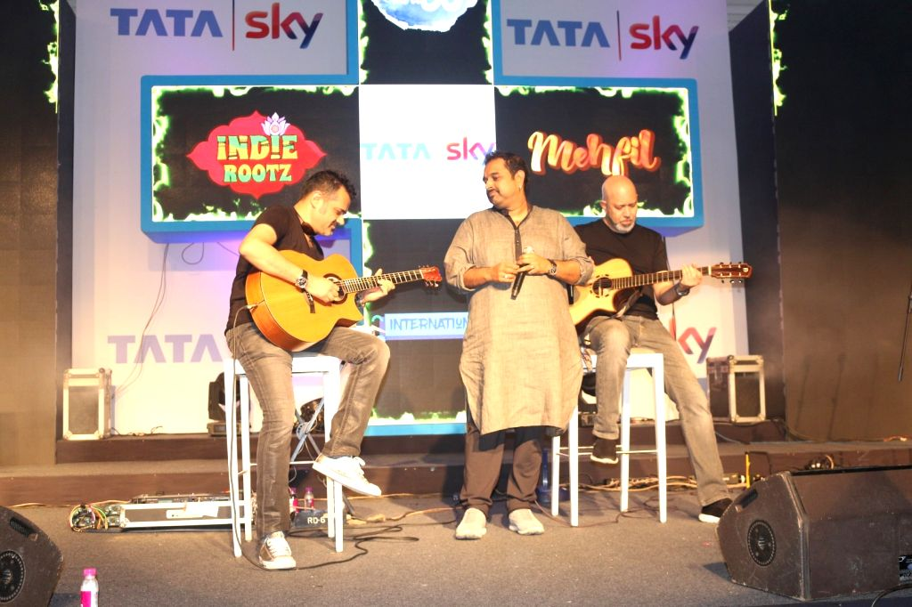 Music composer Ehsaan Noorani, Shankar Mahadevan and Loy Mendonsa during the launch of Tata Sky new service with four music genres on a Pay TV platform, named `Music+` in partnership with ...