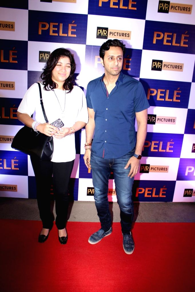 Music composer Salim Merchant with wife Jeanne Merchant during the screening of Hollywood film Pele: Birth of a Legend, in Mumbai, on May 9, 2016.