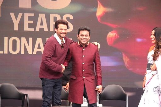 """Music Director A.R. Rahman with actor Anil Kapoor during the 10-year celebration of the music of """"Slumdog Millionaire"""" that won eight awards at the Oscars, in Mumbai on Feb 4, 2019. - Anil Kapoor"""