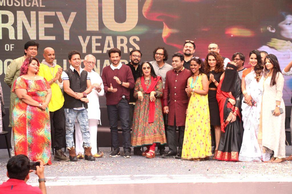 "Music Director A.R. Rahman with lyricist Gulzar, actor Anil Kapoor, singers Ila Arun, Vijay Prakash and Mahalakshmi Iyer during the 10-year celebration of the music of ""Slumdog ... - Anil Kapoor"