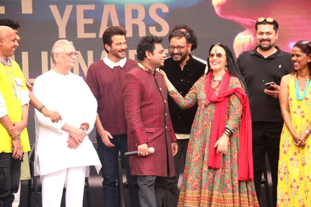 "Music Director A.R. Rahman with lyricist Gulzar, actor Anil Kapoor, singers Ila Arun and Mahalakshmi Iyer during the 10-year celebration of the music of ""Slumdog Millionaire"" that ... - Anil Kapoor"