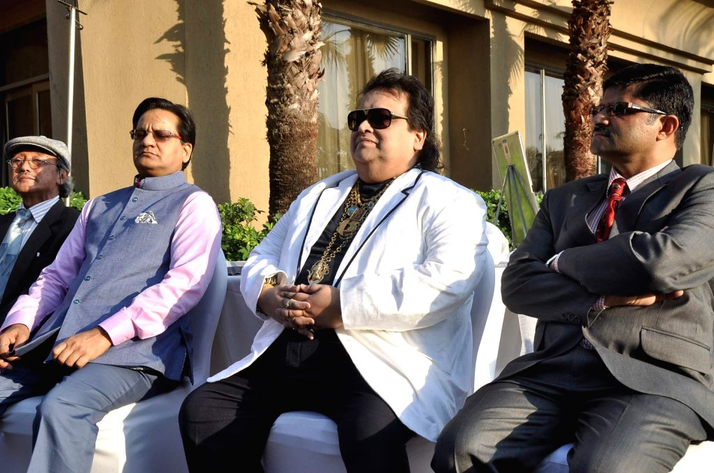 Music director Bappi Lahiri during an event organised to announce Bappi as a goodwill ambassador for Education for all campaign by the National Federation of UNESCO Clubs Centres & Association of