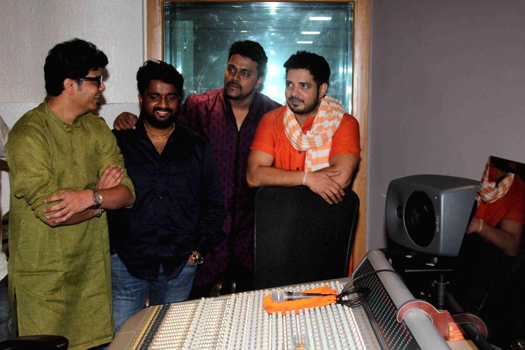 Music director Sameer Godbole, singer Aadarsh Shinde, music composer Amit Raj and singer Swapnil Bandodkar during the song recording of Mangalmurthi Morya, a single audio on Lord Ganesha in ... - Sameer Godbole