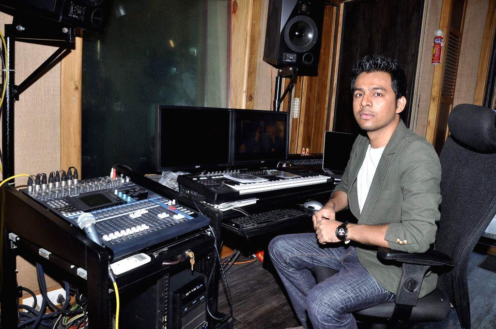 Music recording with Neha Kakkar and Meiyang Chang for Hanju Tony Kakkar, at Soundbox in Mumbai, on December 16, 2013. (Photo: IANS)